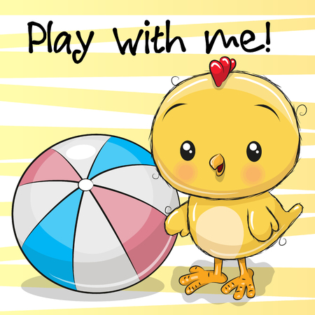 Cute Chicken with a ball on a yellow background