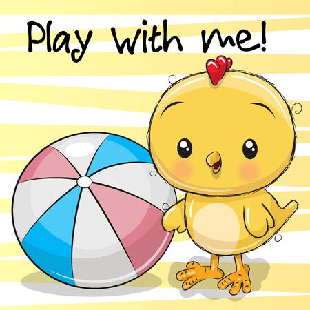 Poulet mignon avec une balle sur un fond jaune Banque d'images - 98555226