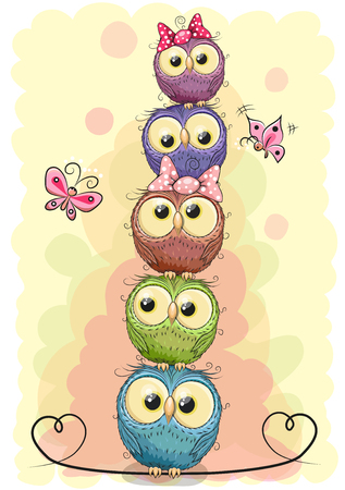 Five cute owls on a yellow background sitting on top of one another