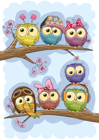 Seven Cute Owls is sitting on a branches
