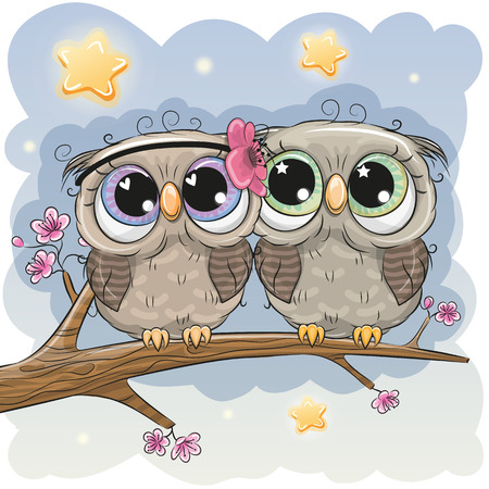 Two Cartoon Cute Owls is sitting on a branch of sakura