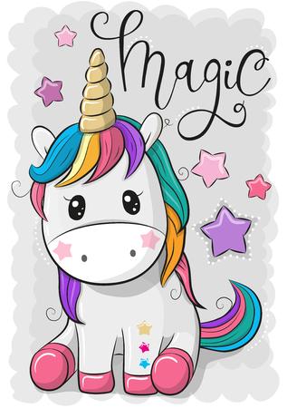 Cute Cartoon Unicorn geïsoleerd op een grijze achtergrond Vector illustratie. Vector Illustratie