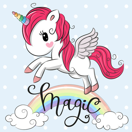 Cartoon Cartoon Unicorn is flying under the rainbow Vector illustration. Vectores