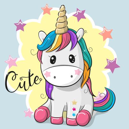 Cute Cartoon Unicorn geïsoleerd op een blauwe achtergrond