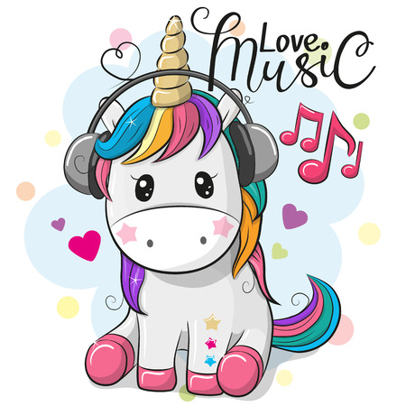 Cute Cartoon Unicorn with headphones on a blue background