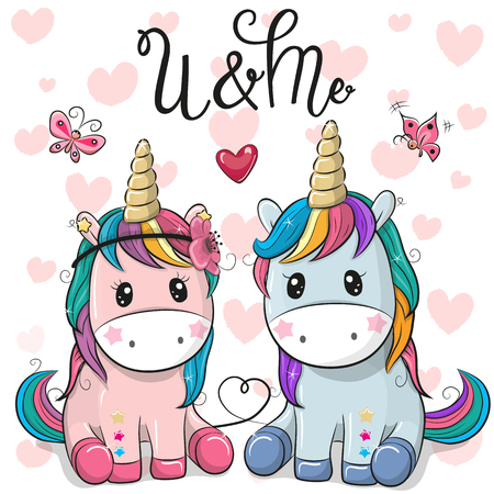 Two Cute Cartoon Unicorns on a hearts background Illustration