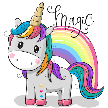 Cute Cartoon Unicorn and a rainbow isolated on a white background