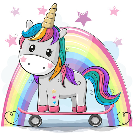 Cute Cartoon Unicorn with skateboard on a rainbow background