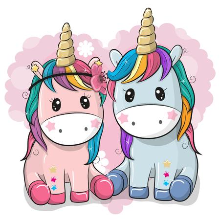 Two Cute Cartoon Unicorns on a heart background