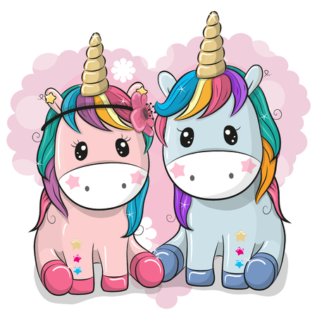 Two Cute Cartoon Unicorns on a heart background