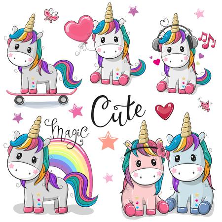 Conjunto de dibujos animados lindo unicornios aislado sobre un fondo blanco. Ilustración de vector