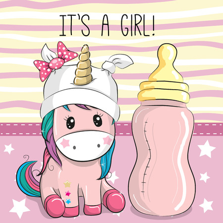 Cute Cartoon Unicorn girl with feeding bottle