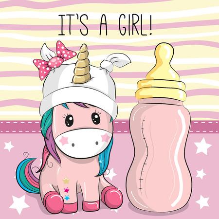 Cute Cartoon Unicorn girl with feeding bottle