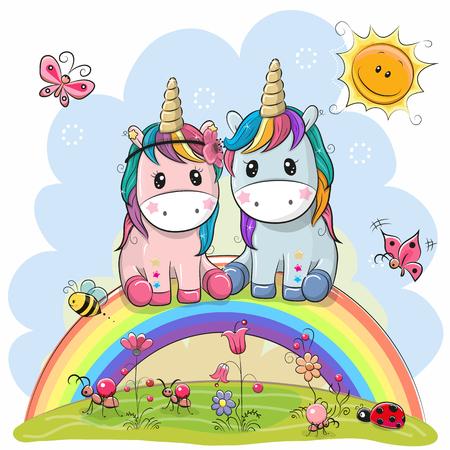 Two Cute Cartoon Unicorns are sitting on the rainbow Illustration