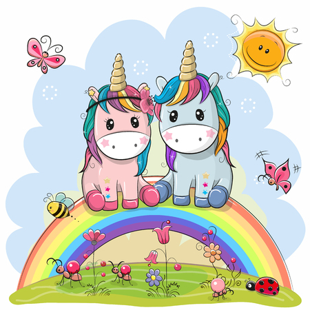 Two Cute Cartoon Unicorns are sitting on the rainbow Ilustração