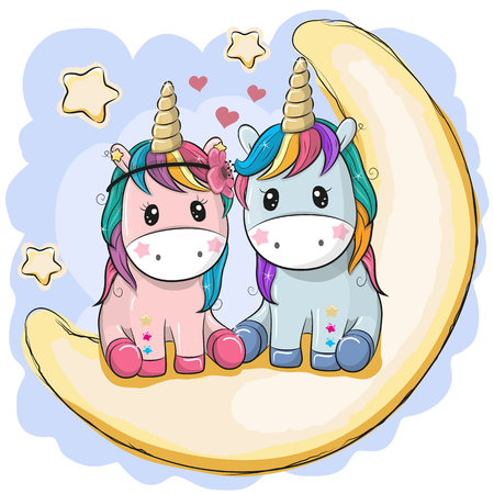Two Cute Cartoon Unicorns are sitting on the moon