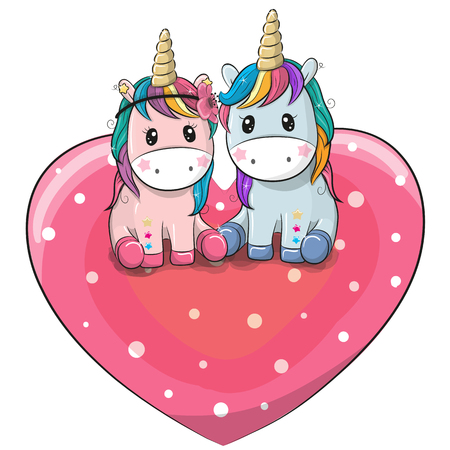 Two cute Cartoon Unicorns are  sitting on a heart