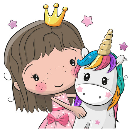 Greeting Card with Cute Cartoon fairy tale Princess and Unicorn