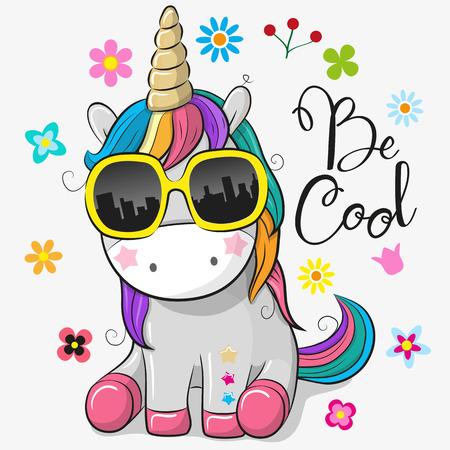 Cute Cartoon Śliczny jednorożec z okularami przeciwsłonecznymi