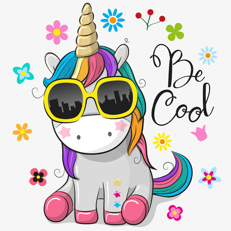 Cute Cartoon Cute unicorn with sun glasses Vettoriali