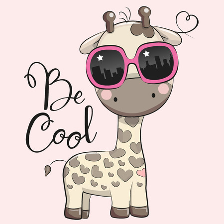 Cool Cartoon Cute Giraffe with sun glasses