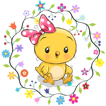 Cute cartoon chicken in a flowers frame.