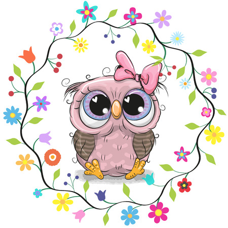 Cute Cartoon Owl in a flowers frame