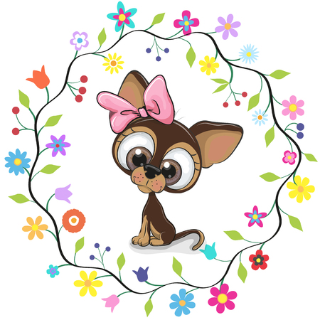 Cute cartoon puppy girl in a flowers frame.