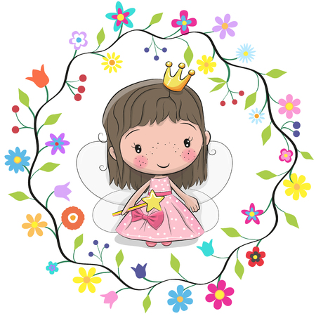 Cute cartoon princess in a flowers frame.