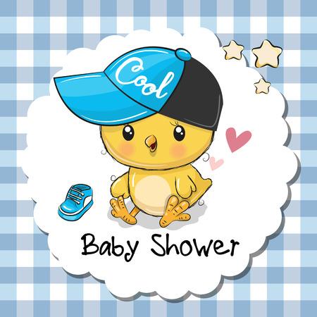 Baby shower greeting card with cute cartoon chicken boy. Ilustração