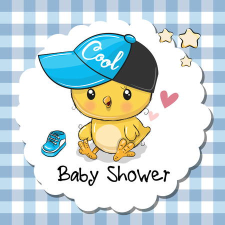 Baby shower greeting card with cute cartoon chicken boy. Illustration