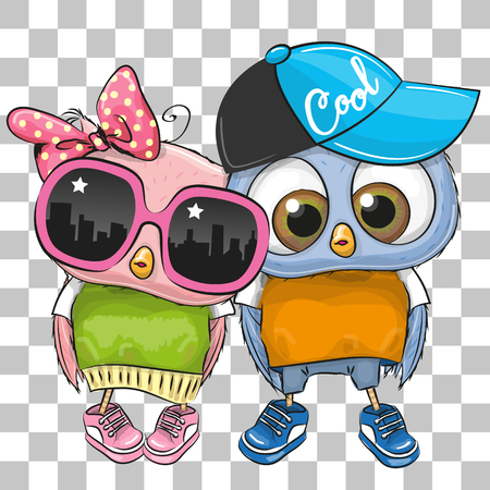 Two cute cartoon owls on a white and gray background. Stock Illustratie
