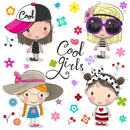 Cute cartoon girls on a flowers backdrop design Illustration