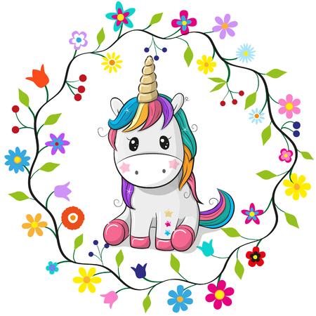 흰색 배경에 꽃 프레임에 귀여운 만화 유니콘. 스톡 콘텐츠 - 99560439
