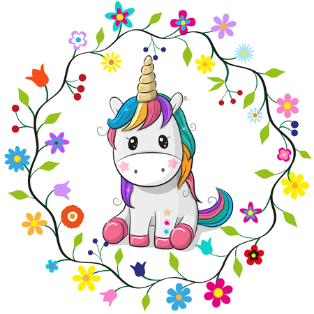 Cute cartoon unicorn in a flowers frame on a white background.
