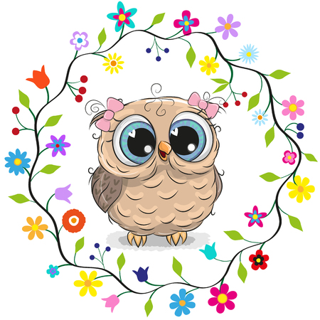 Cute cartoon owl girl in a flowers frame. Stock Illustratie