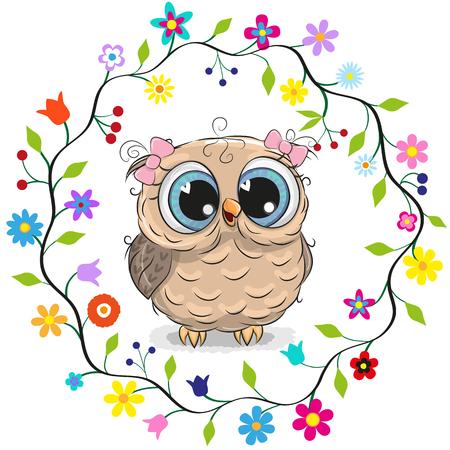 Sowa kreskówka dziewczyna w ramce kwiaty.