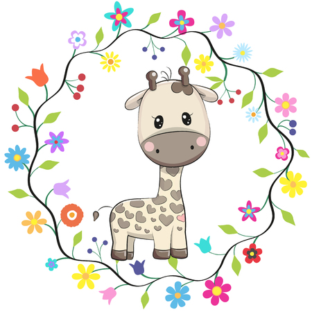 Cute cartoon giraffe in a flowers frame.