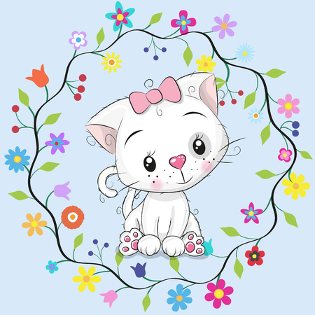 Cute cartoon cat in a flowers frame on a blue background. Stock Illustratie