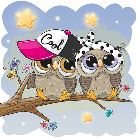 Two Cartoon Cute Owls sitting on a branch of sakura