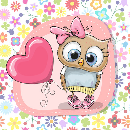 Greeting card Cute Cartoon Owl girl with balloon Vector illustration.