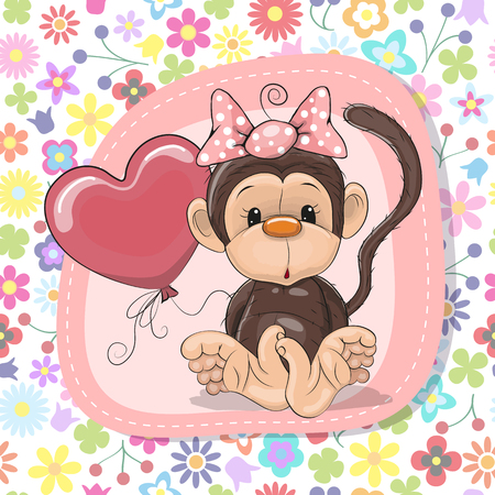 Greeting card Cute Cartoon Monkey with balloon Vector illustration. Ilustração