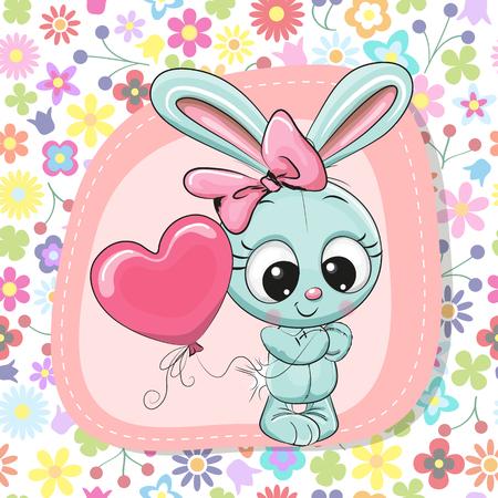 Greeting card Cute Cartoon Rabbit girl with balloon Vector illustration. 일러스트