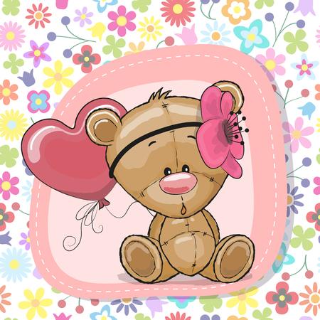 Greeting card Cute Cartoon Teddy Bear girl with balloon Vector illustration.