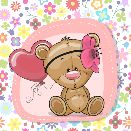 Greeting card Cute Cartoon Teddy Bear girl with balloon Vector illustration.