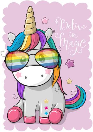 Cute Cartoon Cool unicorn with sun glasses Vector illustration.