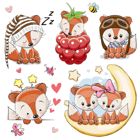 Set of Cute Cartoon Foxes on a white background Vector illustration.
