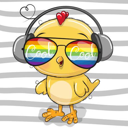 Pollo sveglio del fumetto fresco con l'illustrazione di vettore degli occhiali da sole. Vettoriali