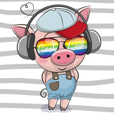 Cool Cartoon Cute Pig with sunglasses Vector illustration. Illustration