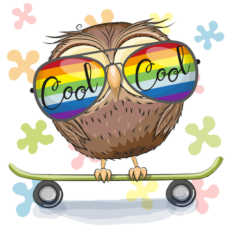 Cool Cartoon Cute Owl with sun glasses on a skateboard. Vector illustration.